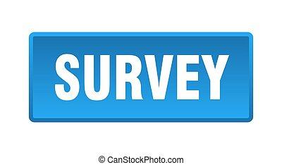 survey button. survey square blue push button