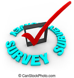 A red check mark in a blox, surrounded by the word Survey