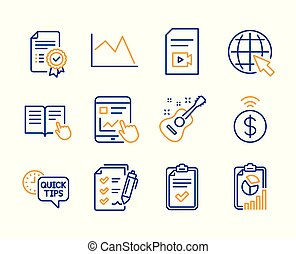 Survey checklist, Certificate and Contactless payment icons...