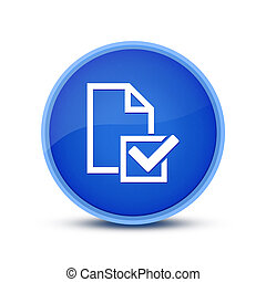Survey (Checklist icon) isolated on glassy blue round button abstract