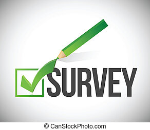 survey checkmark and pencil illustration design over a white...