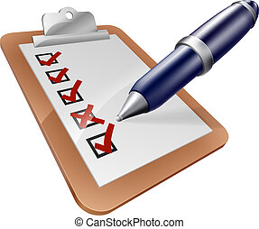 A survey clip board and pen icon with pen completing a survey or filling out a form