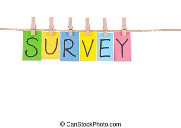 Survey, Colorful words hang on rope by wooden peg