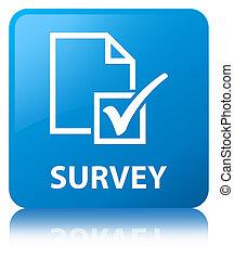 Survey cyan blue square button