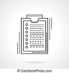 Survey flat line design vector icon - Paper document with...