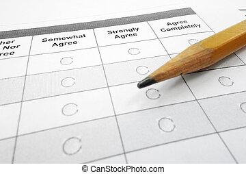 survey form - closeup of a survey questionnaire form and ...