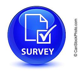 Survey glassy blue round button