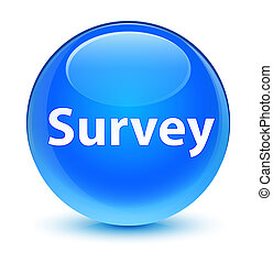 Survey glassy cyan blue round button