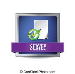 Survey glossy blue button illustration