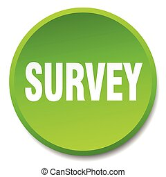 survey green round flat isolated push button