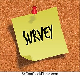 SURVEY handwritten on yellow sticky paper note over cork noticeboard background.