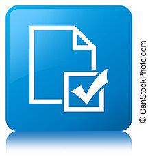 Survey icon cyan blue square button