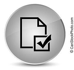 Survey icon elegant white round button