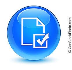 Survey icon glassy cyan blue round button