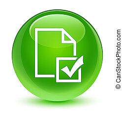 Survey icon glassy green round button