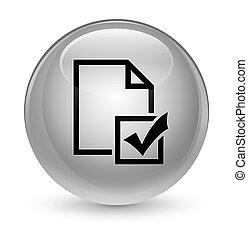 Survey icon glassy white round button