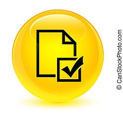 Survey icon glassy yellow round button