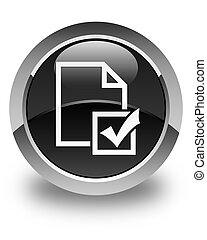 Survey icon glossy black round button