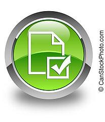 Survey icon glossy green round button