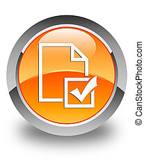 Survey icon glossy orange round button