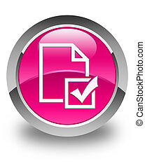 Survey icon glossy pink round button