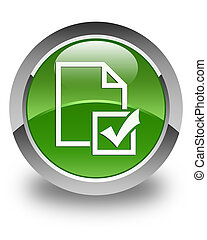 Survey icon glossy soft green round button