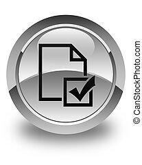 Survey icon glossy white round button