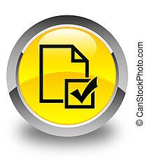 Survey icon glossy yellow round button