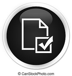 Survey icon premium black round button