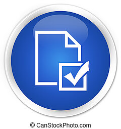 Survey icon premium blue round button
