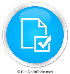 Survey icon premium cyan blue round button