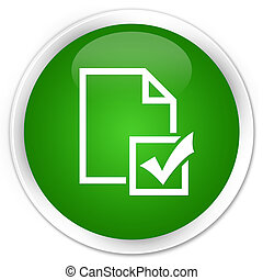 Survey icon premium green round button