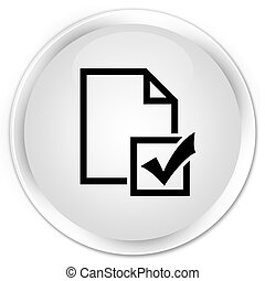 Survey icon premium white round button