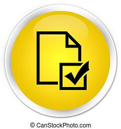 Survey icon premium yellow round button