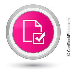 Survey icon prime pink round button