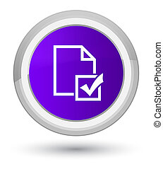 Survey icon prime purple round button