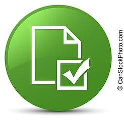 Survey icon soft green round button