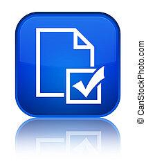 Survey icon special blue square button