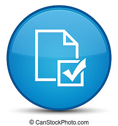 Survey icon special cyan blue round button