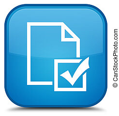 Survey icon special cyan blue square button