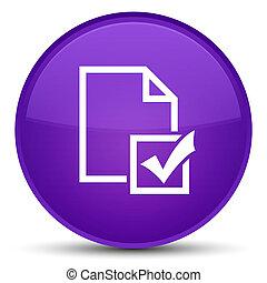 Survey icon special purple round button