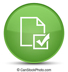 Survey icon special soft green round button