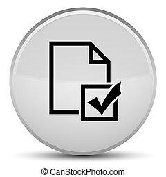 Survey icon special white round button
