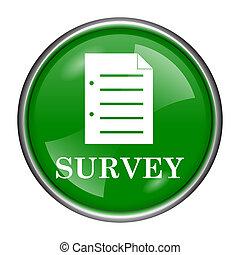 Survey icon - Round glossy icon with white design on green...