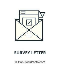 Survey letter vector line icon, linear concept, outline sign, symbol