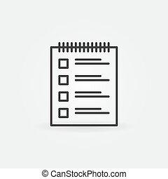 Survey linear icon. Vector checklist symbol in outline style