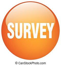survey orange round gel isolated push button