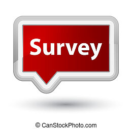 Survey prime red banner button - Survey isolated on prime...
