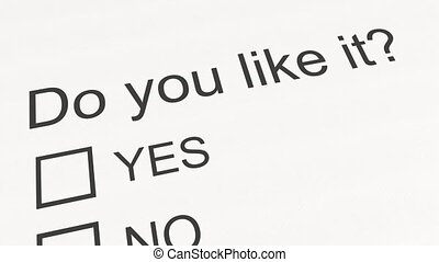 Survey question and answer: Do you like it - Yes. Conceptual...
