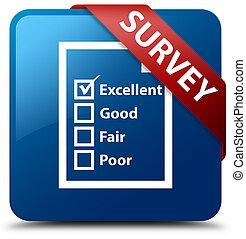 Survey (questionnaire icon) blue square button red ribbon in corner